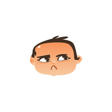 Comic style baby head icon with angry, suspicious face expression, flat vector illustration isolated on white background. Flat, comic emoticon, emoji icon with angry newborn baby boy face