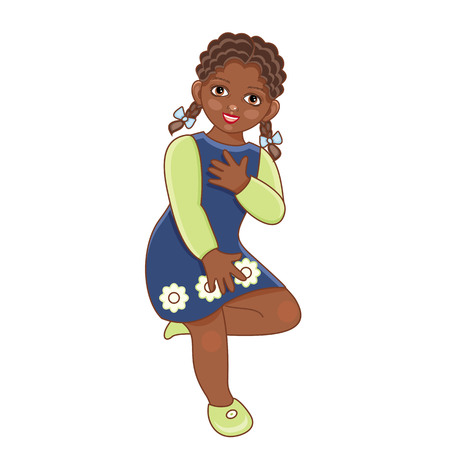 Vector flat african american black girl in summer dress with pigtails, skirt faving fun dancing.