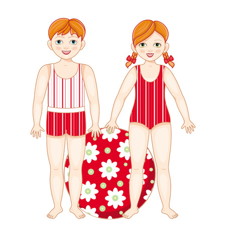 Vector flat redhead boy girl kids friends standing in summer swimsuit smiling with inflatable ring with flowers. Male, female character happy expression. Isolated illustration, white background