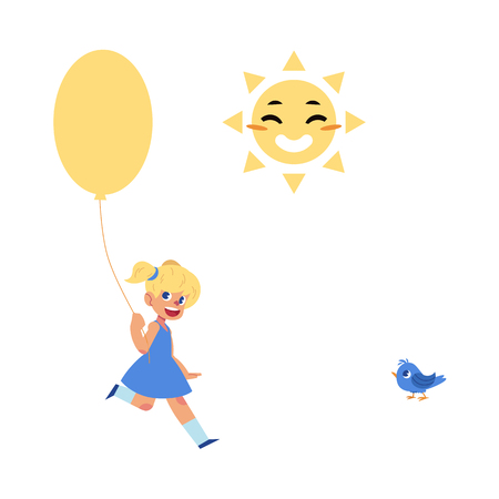 Flat vector little girl walking or running with big colored air balloon in blue dress, smiling sun face, blue sparrow bird. Happy female character kids celebration party invitation card design.