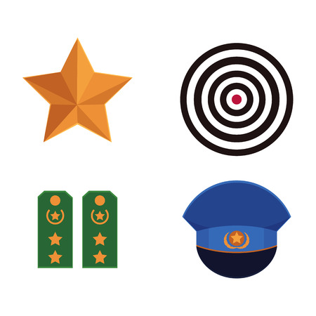 Flat vector army, military, 23 of February, Russian Defender of the Fatherland Day symbol. Military orange star, shooting target shoulder straps, peak less blue cap with star icons isolated illustration.