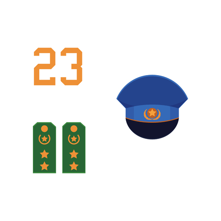 Flat vector army, military, 23rd of February. Russian Defender of the Fatherland Day symbol icons - 23 numbers, military shoulder straps, peak less blue cap with star isolated illustration.