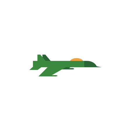 Flat vector army, military, 23rd of February. Russian Defender of the Fatherland Day symbol icon military green jet, plane, aircraft isolated illustration, white background. Illustration