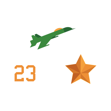 Flat vector army, military, 23rd of February. Russian Defender of the Fatherland Day symbol icons - military aircraft, jet, plane, number 23, orange star isolated illustration.