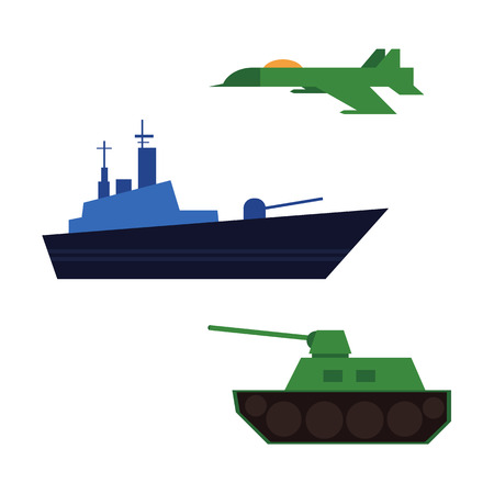 Flat vector army, military, 23rd of February. Russian Defender of the Fatherland Day symbol icon warship boat, armored tank, military aircraft jet, plane isolated illustration.