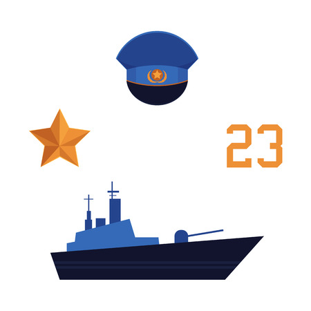 Flat vector army, military, 23rd of February. Russian Defender of the Fatherland Day symbol icons - military warship boat, 23 number, peak less cap orange star isolated illustration, white background.