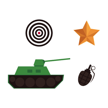 Flat vector army, military icons, 23rd of February.Russian Defender of the Fatherland Day symbol icons - green tank, grenade, sniper scope aim, shooting target orange star isolated illustration.