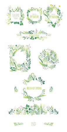 Big set of ecological style round and square frames, decorations elements, borders made of green leaves, twigs, herbs, flowers and branches, flat doodle vector illustration isolated on white background.