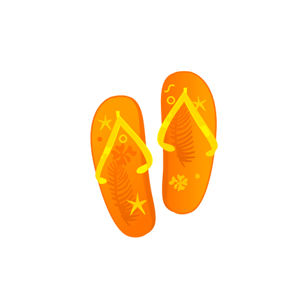 Flat vector travelling, beach vacation symbol beach slippers, flip flops orange colored with starfish print icon. Summer holiday poster, banner design element isolated illustration, white background. Stock Illustratie