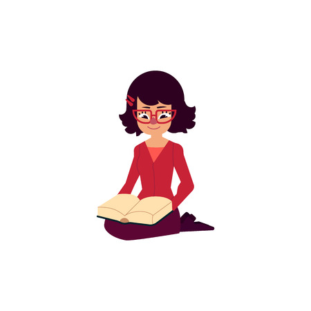 Vector flat adult beautiful middle-aged woman in red jacket, glasses sitting on knees while  reading book.