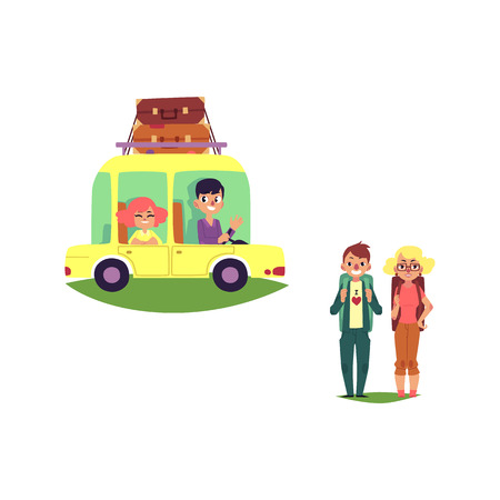 Flat vector woman, boy driving car, auto vehicle with big bags at its roof, man girl hikers with backpacks. Road trip, travelling concept isolated illustration on a white background.