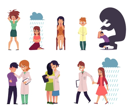 vector flat mental illness, disorder set. Male, female characters suffering from anxiety, depression fear madness grief and man, woman doctors helping. Isolated illustration white background