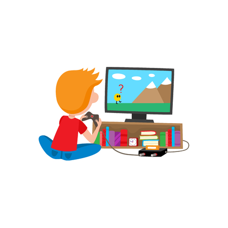 Boy playing game console using TV and joystick sitting on the floor, cartoon vector illustration isolated on white background. Full length rear view portrait of boy playing video game on a console.
