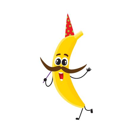 棒に口ひげを持つ誕生日の帽子の面白いバナナのキャラクターは、パーティーで楽しみを持って、白い背景に隔離された漫画のベクトルイラスト。  イラスト・ベクター素材