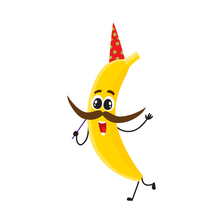 Funny banana character in birthday hat holding mustache on a stick, having fun at party, cartoon vector illustration isolated on white background. Cartoon banana character having fun at birthday party.