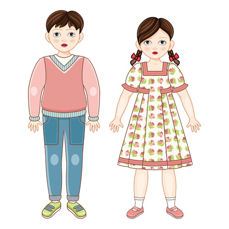 Vector flat brunette boy and girl kids friends standing smiling. Male, female characters in casual clothing - dress, jeans, pullover with happy expression. Isolated illustration, white background. Иллюстрация