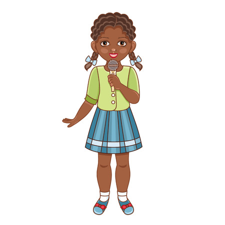 Vector flat african american black girl in summer clothing with pigtails, skirt singing at microphone. Isolated illustration, female child, kid character, white background Foto de archivo - 95387159