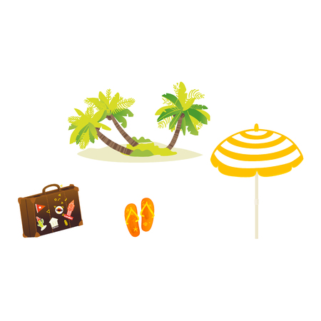 Vector flat travel, beach vacation symbols icon set. Summer holiday rest elements - palm sand island, sun umbrella, slippers, travelling bag. Isolated illustration, white background