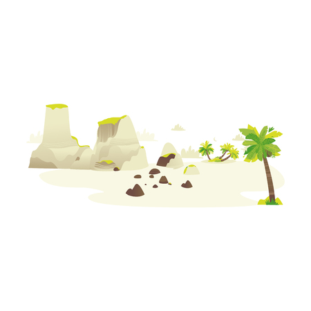 Vector flat travel, beach vacation symbols icon set. Summer holiday rest elements - palm sand island with stone, mountains exotic landscape, clouds silhouettes. Isolated illustration, white background