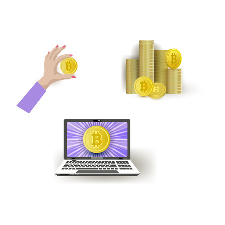 Vector flat laptop computer monitor, stack, pile with golden coins, woman hand holding bitcoin. Mining crypto virtual money advertising poster design element. Isolated illustration, white background Stock Illustratie