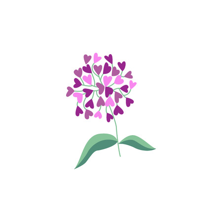 Vector flat abstract flower, lilac icon. Meadow garden spring easter women day romantic holiday, wedding invitation card decoration element summer floral Illustration white background Illustration
