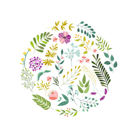 Round banner, greeting card, eco logo decoration element with flowers, leaves and herbs, vector illustration isolated in white background. Doodle flowers, leaves and herbs, round decoration element