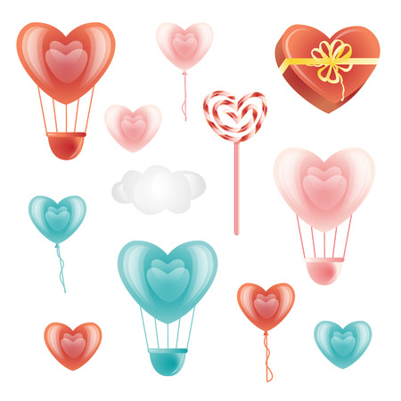 Set of heart-shaped balloons, lollipop, present box and decoration elements, flat style vector illustration isolated in white background. Set of hearts, heart-shaped Valentine decorations and cloud