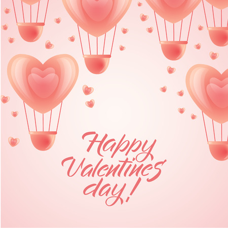 Happy Valentines day greeting card template with pink heart-shaped hot air balloons flying up, flat vector illustration. Valentine greeting card, postcard with heart-shaped balloons and place for text.
