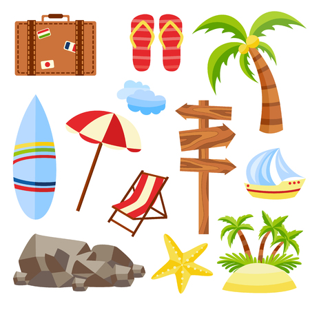 Flat vector travelling bag, beach vacation icon set. Summer holiday slippers surf starfish sand island with palm, wooden direction sign sun umbrella lounger yacht stone clouds isolated illustration.