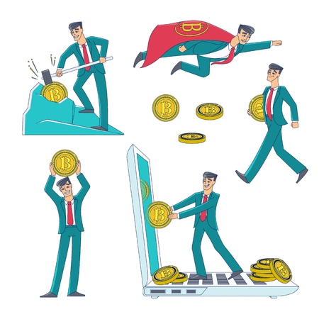 Cryptocurrency and bitcoin mining and earning set with man, businessman and coin icons, flat style vector illustration isolated on white background. Bitcoin mining, cryptocurrency earning concept set