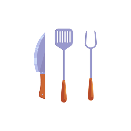 Vector flat barbecue, bbq symbol chef steel metal paddle kitchen spatula knife with wooden handle. Restaurant menu design elements, isolated illustration on a white background
