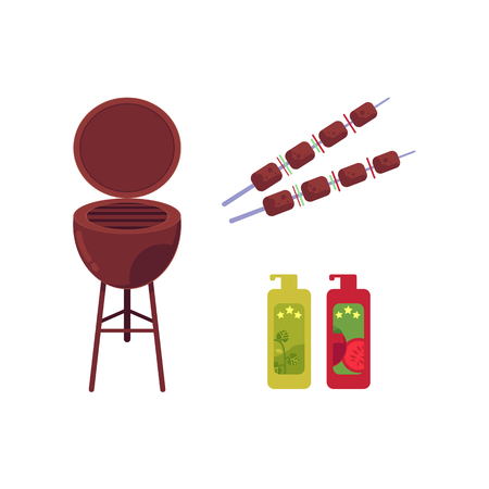 Vector flat barbecue, bbq symbols set. Meat at skewer, coal grill, grilling basket, steel grid mustard ketchup bottles. Restaurant menu design elements, isolated illustration on a white background