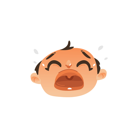 Vector flat baby face with sad facial expression dissapointed unhappy boy kid crying. Cartoon male funny emotional character portrait open mouth tears from eye. Isolated illustration, white background