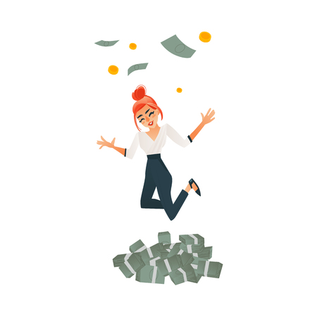 Happy girl, woman, businesswoman celebrating success, jumping, dancing under money rain, flat cartoon vector illustration isolated on white background. Business woman, businesswoman jumping in money