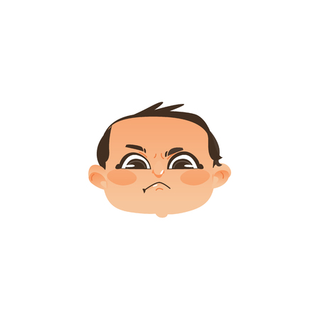 Comic style angry baby face, head twisted mouth, flat vector illustration isolated on white background. Flat, comic style angry baby boy head, face, negative emotion
