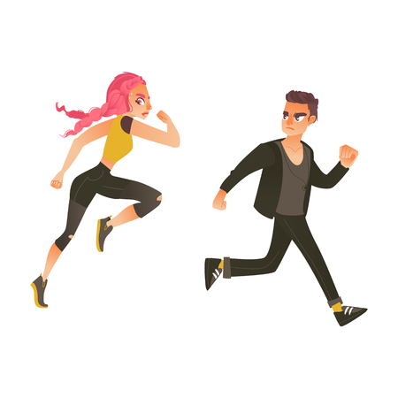Vector cartoon ranaway people set. Sportive girl with pink hair and casual clothing young man running with afraid face looking back. Isolated illustration on a white background Çizim