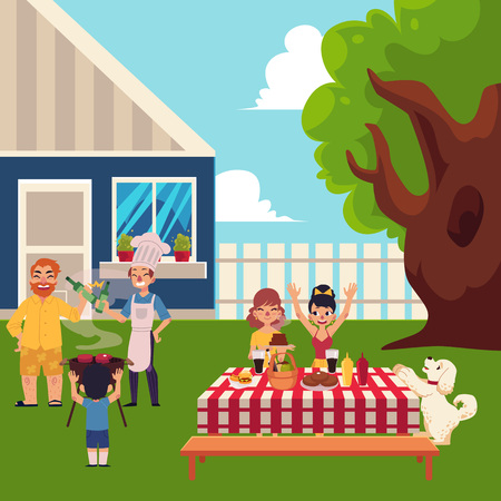 Family having BBQ, barbeque in the yard, cooking meat, laying table, having fun, cartoon vector illustration. Happy family having BBQ picnic outside of the house, laying table, cooking meat