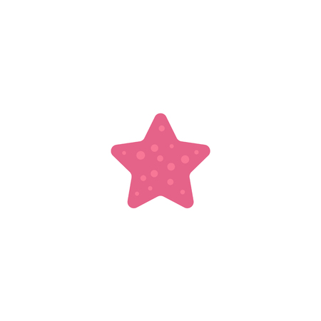 Roundish pink colored starfish, star fish, flat cartoon vector illustration isolated on white background. Simple flat cartoon starfish, star fish, nautical decoration element Illustration