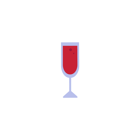 Vector flat red wine glass icon. Isolated illustration on a white background. Restaurant menu, cocktail bar design symbol.