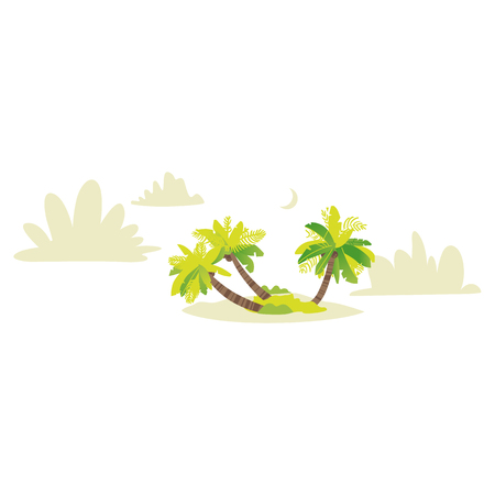 Vector flat travel, beach vacation symbols icon set. Summer holiday rest elements - palm sand island with landscape, clouds silhouettes. Isolated illustration, white background Illustration
