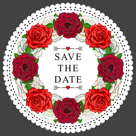 Save the date text in white circle frame with red roses. vector illustration on dark background.
