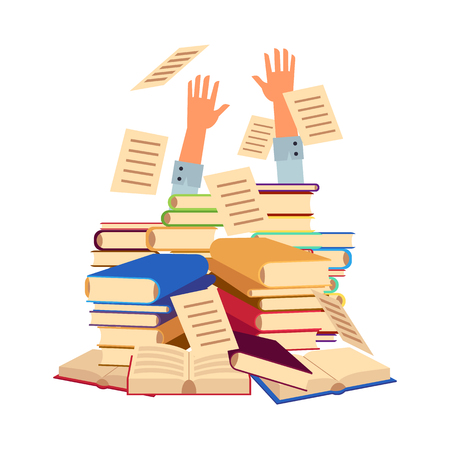Vector flat office or student man hands sticking out books pile. Overwork or studying exams concept. Education work and stress concept. Illustration isolated background