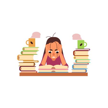 Vector die Ebene, die müde verärgerte Studentin oder Arbeitskraft erschöpft ist, die bei Tisch mit Buchstapel und Kaffeetasse sitzen. Überarbeitung oder Prüfungskonzept zu studieren. Bildungs- und Stresskonzept. Isolierte darstellung Vektorgrafik