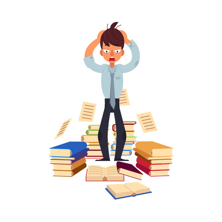 Vector flat exhausted tired shocked man student or worker standing holding hair with books pile at floor.