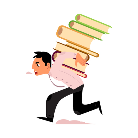 Vector flat exhausted tired man student or worker running carrying books pile at back. Overwork or studying exams concept. Education, work and stress concept. Isolated illustration