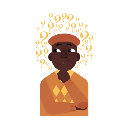 Vector cartoon adult african black man standing in thoughtful pose holding his chin thinking with questions above head portrait . Isolated illustration on a white background Ilustrace