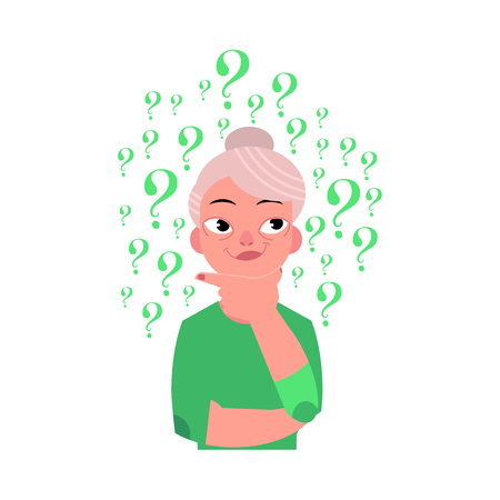 Vector flat old caucasian elderly grey-haired woman in casual green clothing standing in thoughtful pose holding chin thinking with questions above head portrait. Isolated background illustration