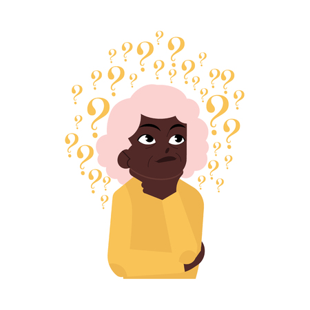 Old woman portrait in casual clothing standing in thoughtful pose holding chin thinking with questions above head isolated illustration, white background. Ilustrace