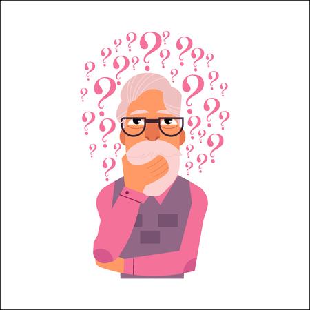 Vector plano anciano en ropa formal barba blanca canas de pie en pose pensativa sosteniendo su barba pensando con preguntas sobre el retrato de la cabeza. Ilustración aislada, fondo blanco