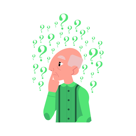 Old grey-haired man in casual green clothing standing in thoughtful pose holding chin thinking with questions above head portrait isolated background illustration.